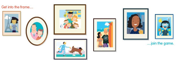Illustration of homeowners and house-sitters pictured in frames on a wall