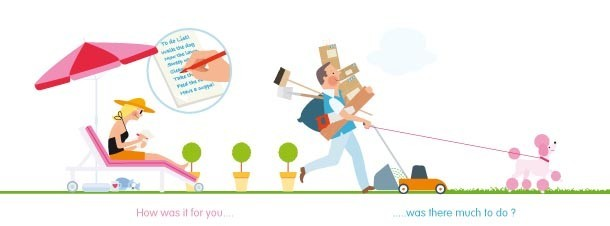 Illustration showing home owner writing house-sitting tips for house-sitter