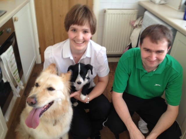 Kate and Tom with Kiai, their dog