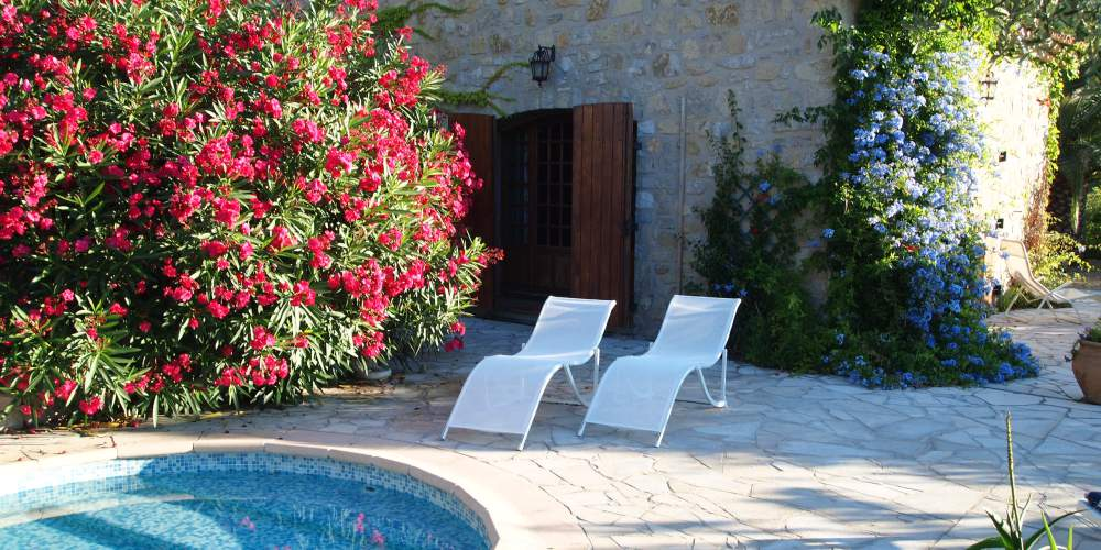 poolside scene in a Mediterranean villa housesitting