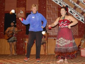 Laurie Joining in the Maori Dancing in New Zealand