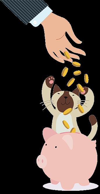 Housesitmatch affiliate rogramme cartoon of cat saving money in piggy bank