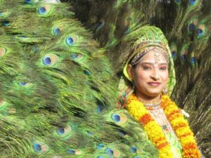 Indian woman dressed in garlands and surrounded by peacock feathers