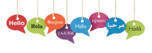 speech bubbles with hello in 8 languages