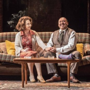 housesitting in London - Actors Simon Nagra and Pauline McLynn sitting on a sofa on stage