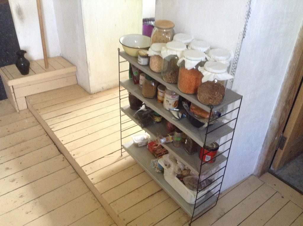Abandoned shelves now in the kitchen - long term house-sitting