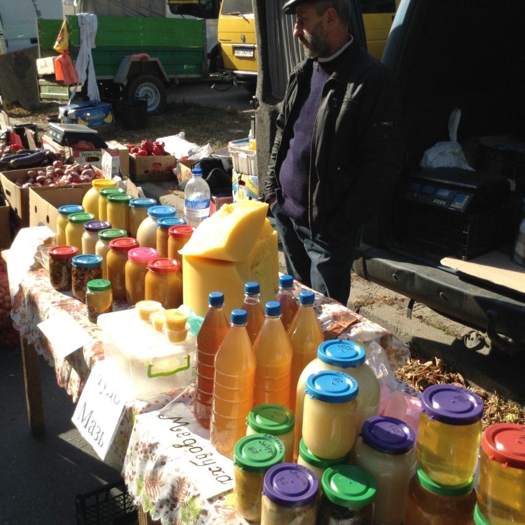 Street market vendor in Brusilov, Ukraine