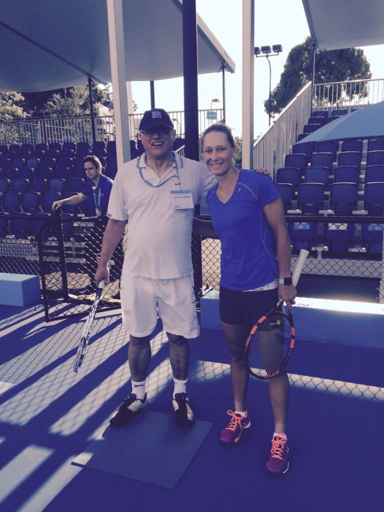 David and Sam Stossar at the tennis clinic in Melbourne