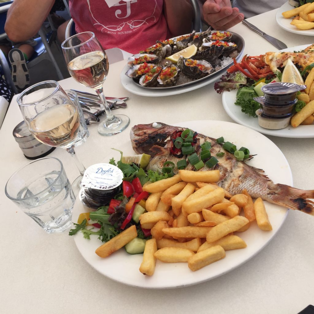 Oysters, Red Snapper and chips - Aussie style