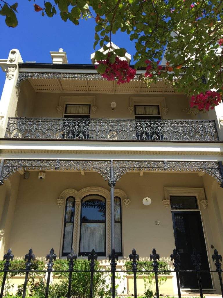 Victorian style house with iron balustrade in Sydney
