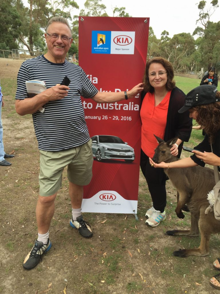Kia outing to Balarat Nature Reserve AUS - David and I with a kanga