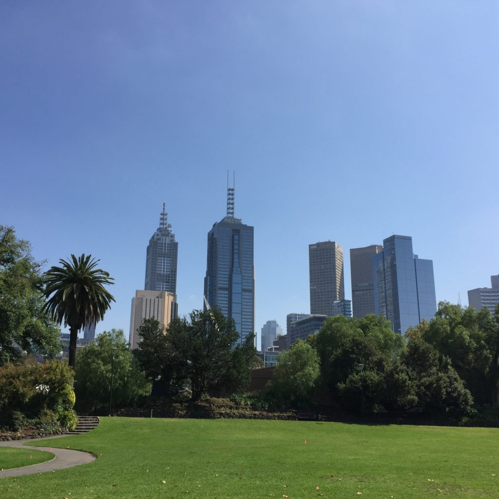 Melbourne city skyline on a sunny day from the park