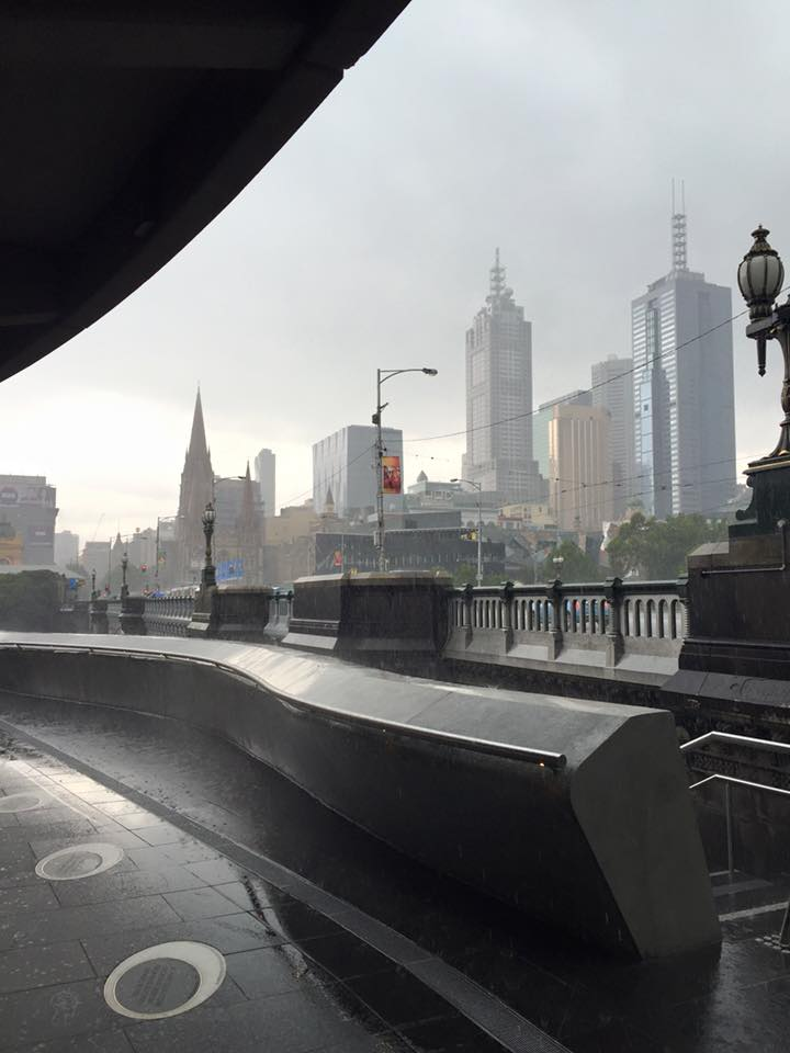A view of Melbourne skyscape in the rain