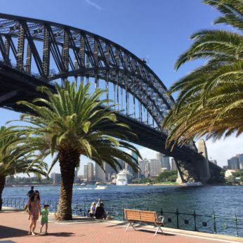 View of the Sydney harbour bridge from Milsons Point Sydney