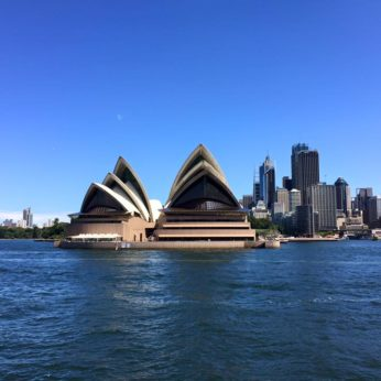 Iconic view of Sydney Opera House and the Central Business District from the ferry in the harbour