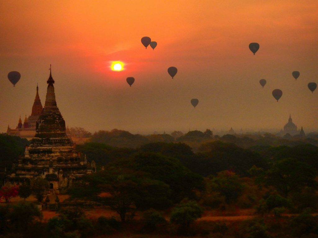 Sunset over Bagan Temples in Mayanmar