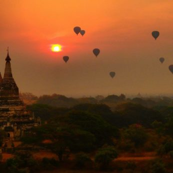 Sunset over Bagan temples in Myanmar