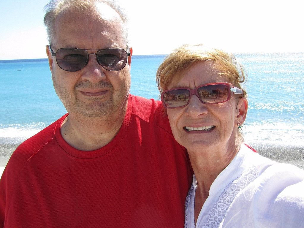 Retired professionals Bob and Shirley together in the sun