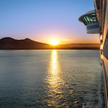 Repositioning cruise and sunset view from deck