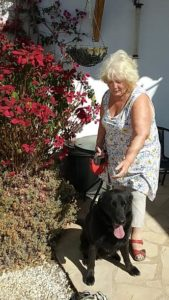 Woman with sitting black labrador, the other half of the retired couple!