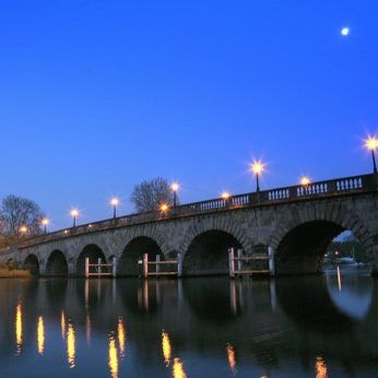 Full moon shining over Maidenhead Bridge