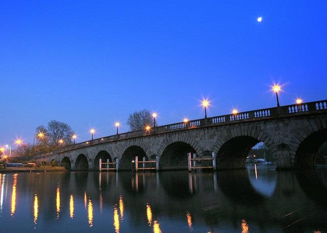 Full moon shining over Maidenhead Bridge