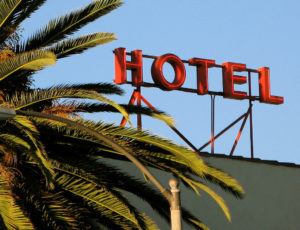 Hotel sign behind palm leaves