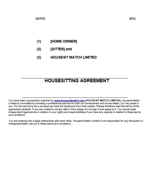 Thumbnails British Legal Housesitting Agreement Template