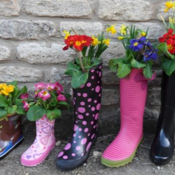 Homeowners welly boots planted