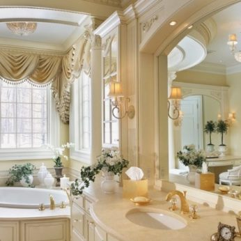 romantic bathroom with sink matching bath