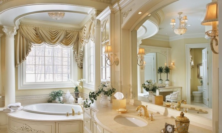 romantic bathroom with sink matching bath